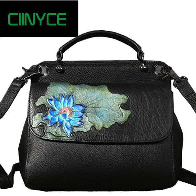 Vintage Style Genuine Cow Leather Women s Satchel Lotus Flower Handbags  Painting Female Small Totes Shoulder Cross body Bags