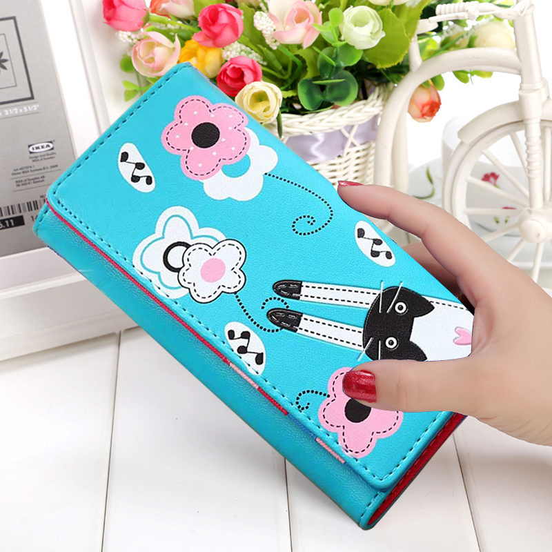 Women Wallets Brand Design Cat Lady Coin Purse Long Short Style Money Bags