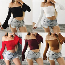 Thefound Sexy Straplee Top Cotton Women Off Shoulder Crop Blouse Top Flare Long Sleeve Shirt Blouse Knit