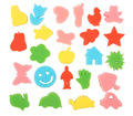 24pcs BOHS Assorted Shapes Small Sponge Head Seal Stamp, A Variety Of Diy Graffiti Sponge Roller Brush