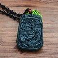 (Envío Certificado) Verde Natural Hetian Jade Colgante Dargon Bailando Zodiaco Dragón de Jade Colgante de Collar de Hombres Joyería Libre cuerda