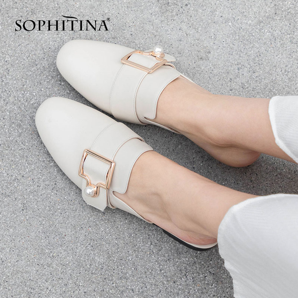 SOPHITINA Solid Women s Slippers High Quality Cow Leather Outside Low Square Heel Shoes Handmade Comfortable