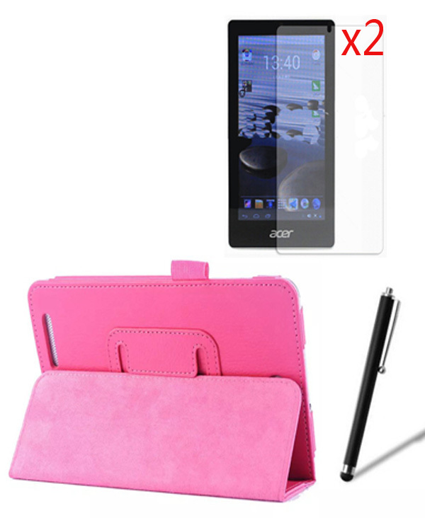 4in1 Luxury Folio Stand Leather Case Cover +2x Clear Screen Protector +1x Stylus For Acer Iconia Tab 7.0 A1 713 A1-713 A1-713HD