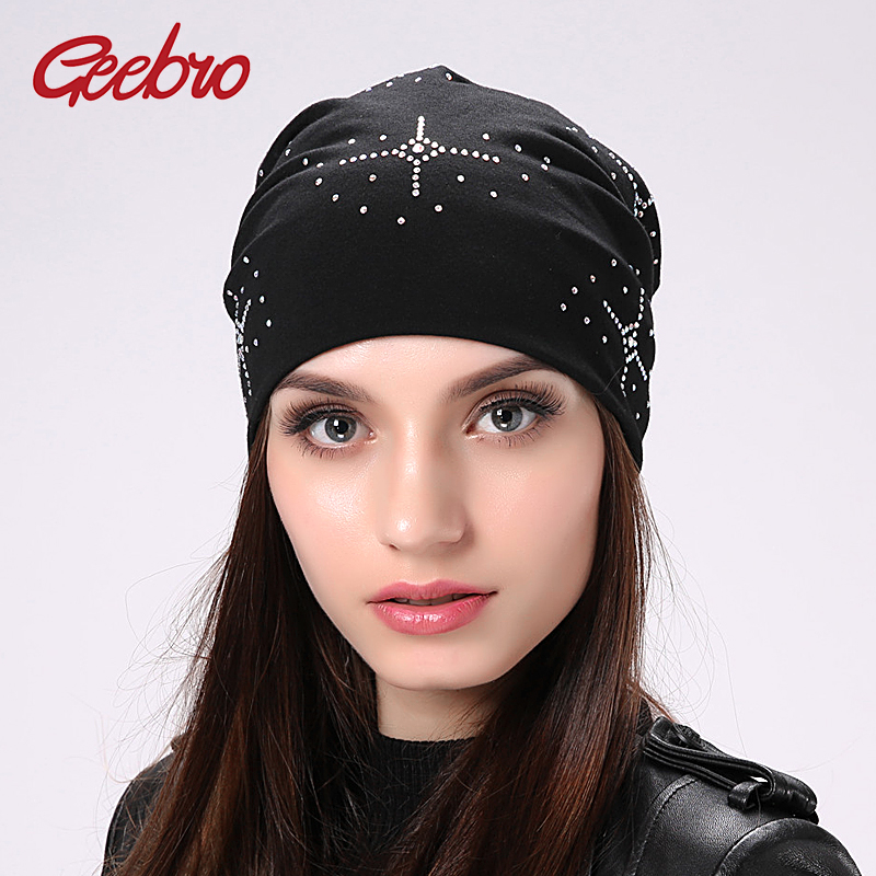 Geebro Women's Hat Bonnet   Skullies     Beanies   Hats For Women Cotton   Beanie   Hats For Girls Knitted Female Hat With Rhinestones JS306