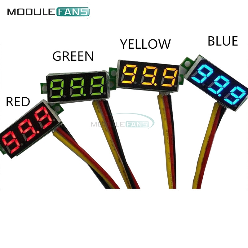 0.28 Inch 0.28'' LED DC 0-100V Green Voltmeter Digital Display Voltage Volt Meter 12V 24V 3 Wires Diy Electronic Diy Kit