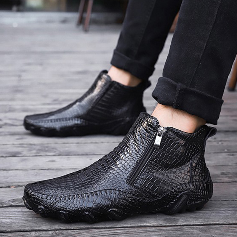 Genuine Leather Shoes Men Chelsea Boots 2019 Autumn Early Winter Ankle Boots Casual Cow Leather Male Shoes Black Footwear A1265