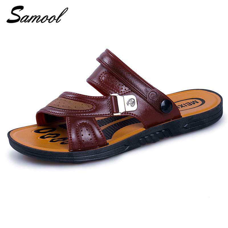 summer Men Sandals Slippers Leather Cowhide Shoes Outdoor Beach Slippers Male Sandalias Soft Bottom Breathable shoes men M3