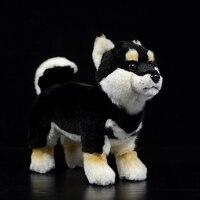 Real Life Standing Black Japanese Shiba Inu Plush Toys Soft Lifelike Dog Stuffed Animal Toy Kid Toys Christmas Gifts