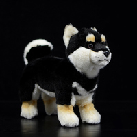 Real Life Standing Black Japanese Shiba Inu Plush Toys Soft Lifelike Dog Stuffed Animal Toy Kid Toys Christmas Gifts