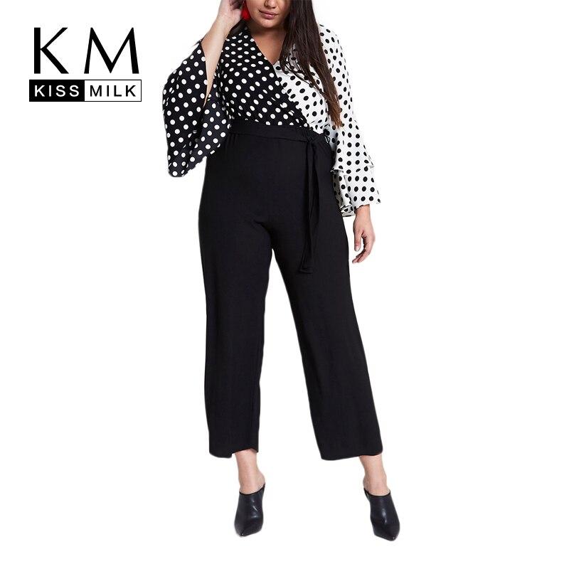 Kissmilk Plus Size 2018 New Fashion Women Drawstring High Waist Casual Solid Office Lady Flat   Wide     Leg     Pants