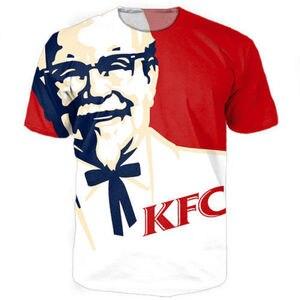 Новинка, забавная футболка KFC с 3D принтом, модные мужские и женские топы, белая красная курица, футболки