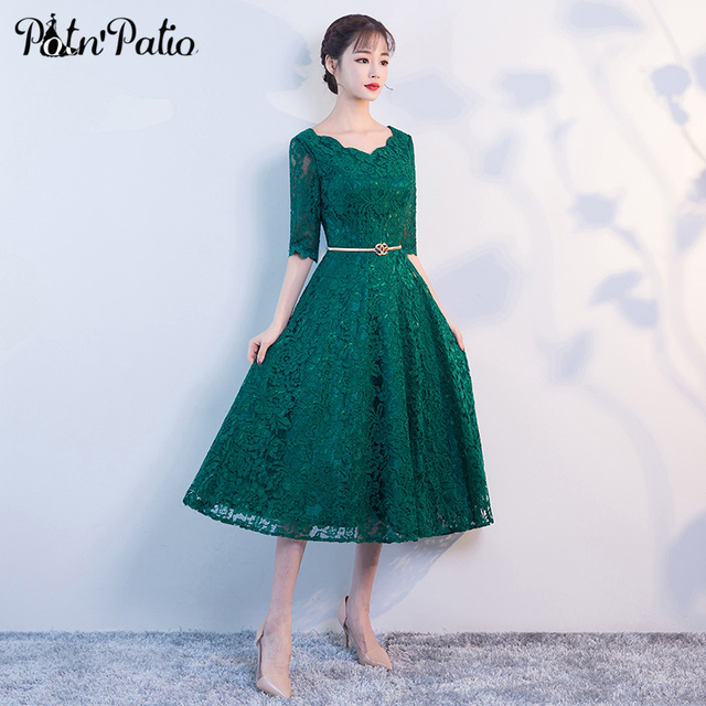 9f6d0e2b70a010 Elegant Green Lace Evening Dress with Half-sleeve Sexy V-neck Vintage A-Line  Midi Formal Party Gowns Special Occasion Dress 2018