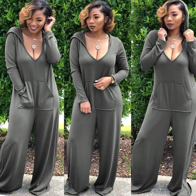 Rompers Women <font><b>2018</b></font> New Brand Long Sleeve Hooded <font><b>Sexy</b></font> V-neck Rompers Pockets Solid Lace Up Wide Leg Club Party <font><b>Jumpsuit</b></font> image