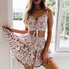 2019 Summer Women Floral Print Crop Top And Skirts Two Piece Set Casual Holiday Beach V-Neck Sleeveless Flower Print Boho Suits black self tie design random floral print v neck crop top