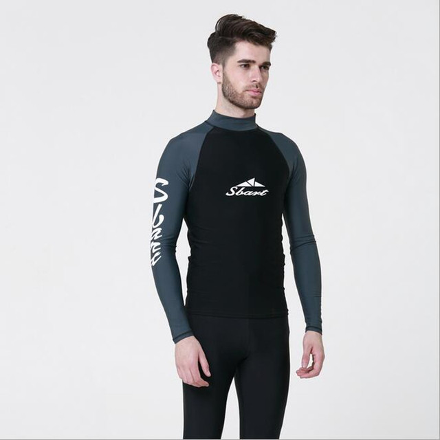 Big Size Wetsuit O-neck Men s Sunscreen Tops Summer Long-sleeved Bathing  Suits Patchwork Color Surfing Swimwear T-Shirt Clothing 0a0a49e34