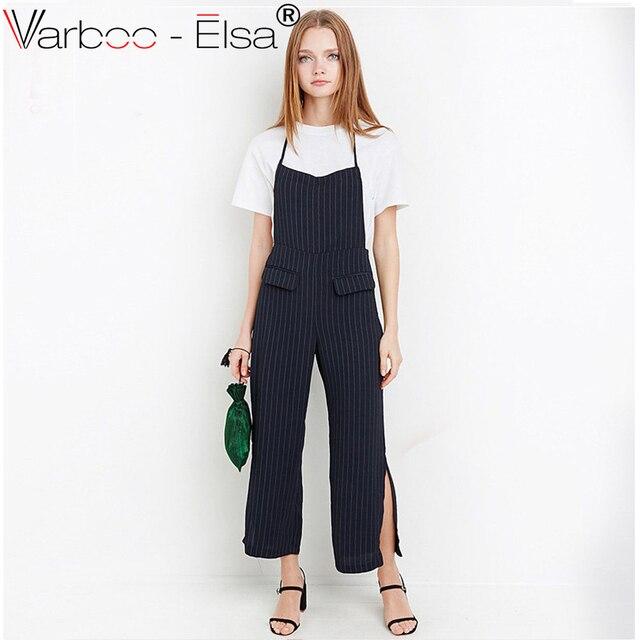 dfde839d6b95 VARBOO ELSA Summer rompers womens jumpsuit 2017 Sleeveless Halter Backless  stripe Playsuit ankle-length Jumpsuit Romper Trousers