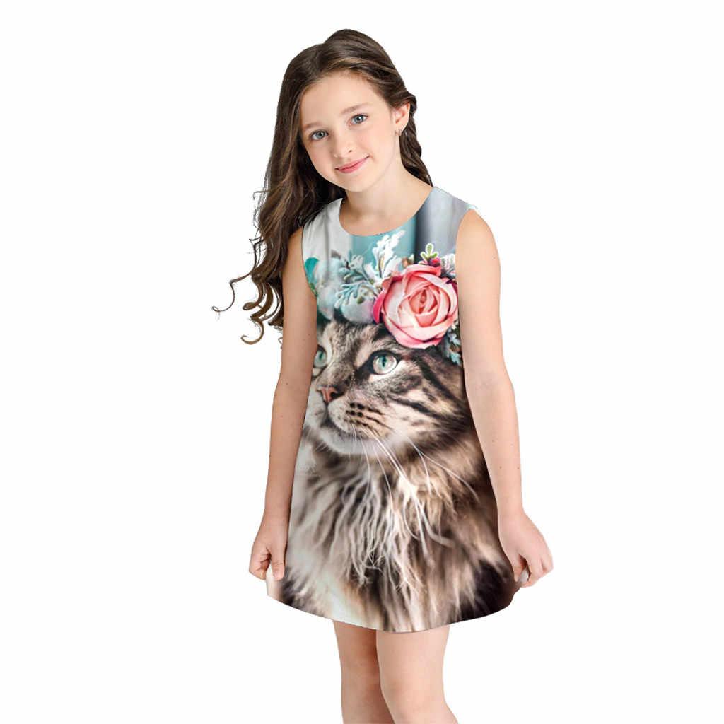 Regular O-Neck Senza Maniche Capretti di Modo Si Vestono per Le Ragazze di Estate Del Gatto Del Fumetto Casual Vestito Dei Bambini per I Bambini Della Ragazza Vestiti da Partito Della Ragazza