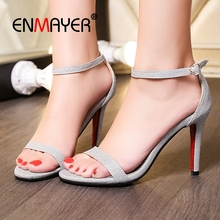 ENMAYER  PU Basic Wedding Woman Sandals 2019 Summer 3 Colors Solid Buckle Strap Zapatos De Mujer Size 34-45 LY1565