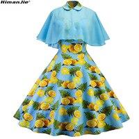 Yeni Tasarım bahar yaz taze limon Baskı kayışı patchwork şifon pamuk Zarif Kadın Rahat Iki Parçalı eski Elbiseler 2 giymek