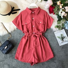 NiceMix Summer Women Jumpsuit  2019 Button Summer Work Blouse Rompers Short Jumpsuit Women Playsuit High Waist Tie Office Ladies недорого