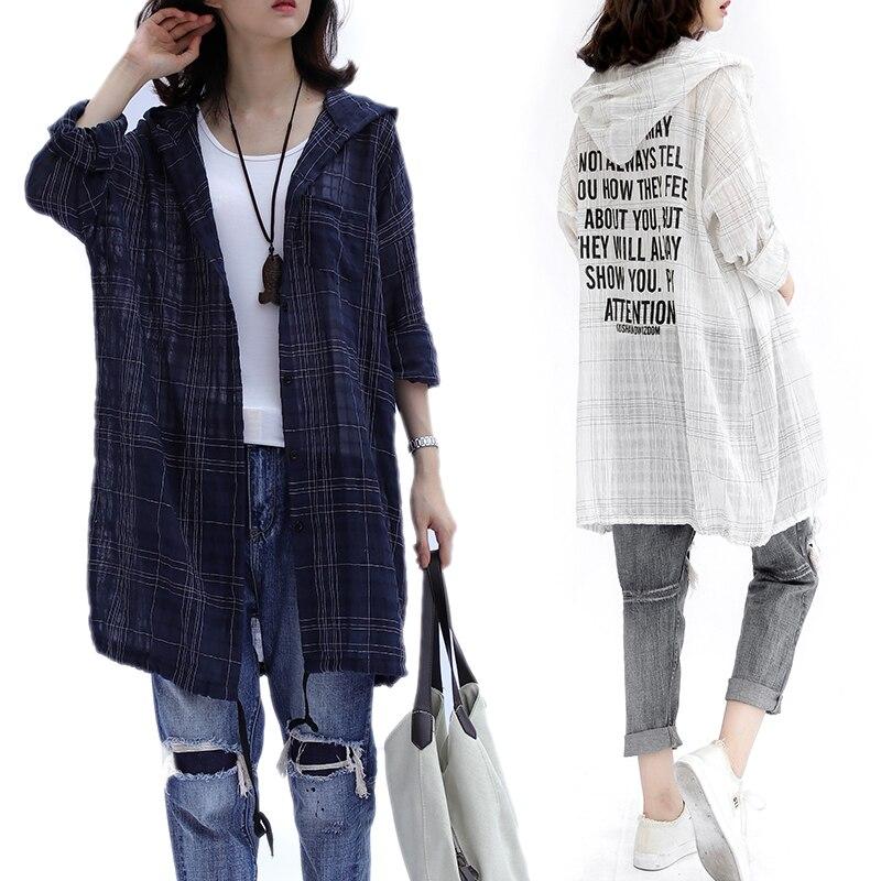 Plus Size 4XL 2018 Summer Women Fashion Elegant Plaid Letter Bolero Tops Ladies Female Big Cotton Linen Thin Outwear Jacket Coat