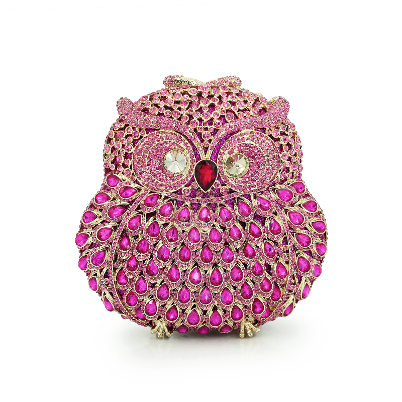 Women Evening Bags Ladies Owl Shape Crystal Clutch Bag Female Pink Color Party Clutches Ladies dinner bags(88129A-P) free shipping a15 36 sky blue color fashion top crystal stones ring clutches bags for ladies nice party bag