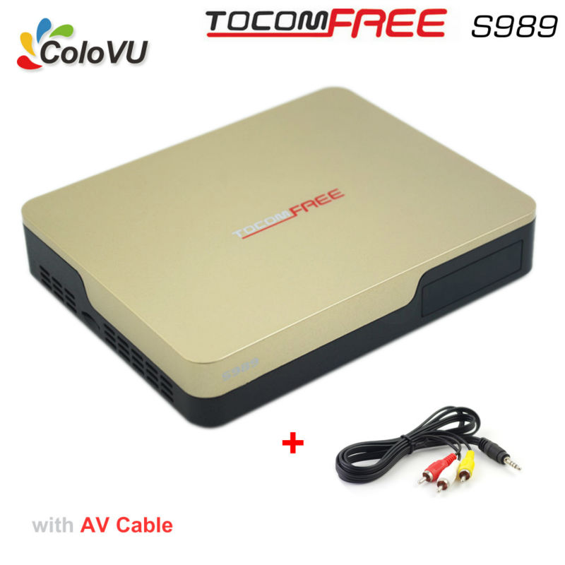 Satellite TV Receiver TocomFree S989 + AV Cable with Free Free IKS SKS IPTV TV Box for Brazil / Chile / Peru / South America azfox dvb s2 x7 mpeg4 1080p nagra3 satellite tv receiver w w free iks account for south american