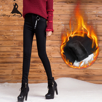 SHINYMORA 2017 New Women Winter Thicken Warm Pencil Pants High Waist Elastic Slim Trousers Female Black