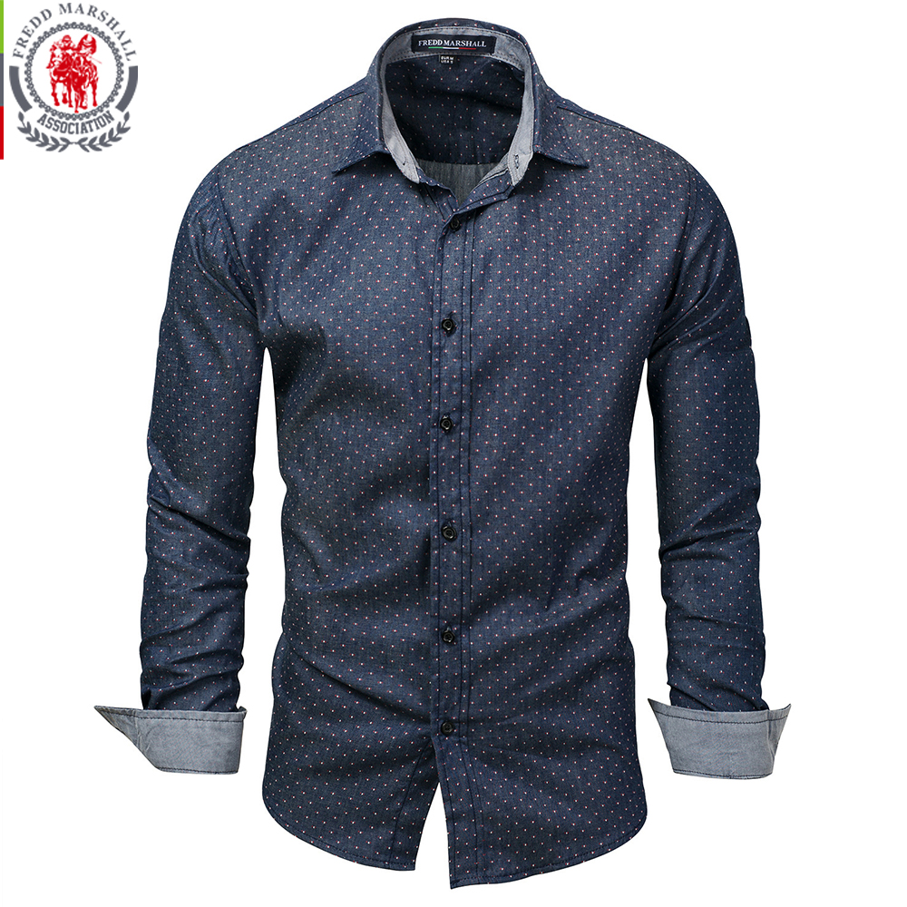 035b47e005 Fredd Marshall 2017 Men Polka Dot Denim Dress Shirt Long Sleeve 100% Cotton  High Quality