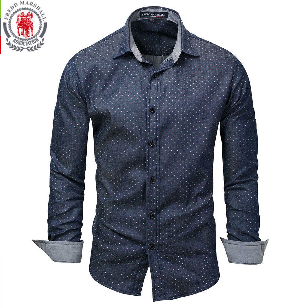Fredd マーシャル 2019 男性水玉デニムシャツ長袖綿 100% の高品質カジュアルシャツ男性社会ドレスシャツ 3XL 120