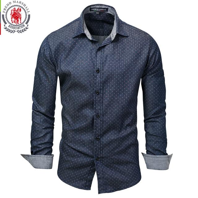 Fredd מרשל 2019 גברים מנוקדת ג ינס חולצה ארוך שרוול 100% כותנה באיכות גבוהה מזדמן חולצה זכר חברתי שמלת חולצות 3XL 120