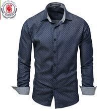 Fredd Marshall 2019 الرجال البولكا نقطة قميص دينيم كم طويل 100% القطن عالية الجودة قميص غير رسمي الذكور الاجتماعية فستان قمصان 3XL 120
