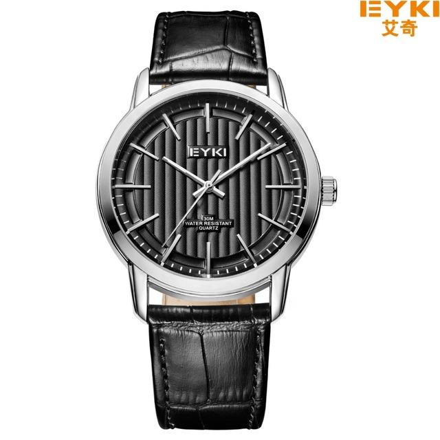EYKI Business Men's Watches Top Brand Luminous Pointer Cowhide Leather Wrist Watch Waterproof Quartz Watch Lovers Reloj Hombre