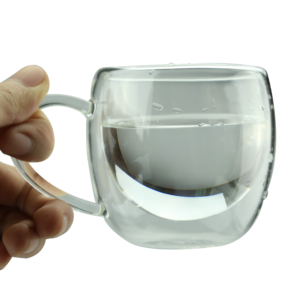 Coffee cup transparent - Double Layer Glass Tea Coffee Cup Heat Mug With Handle Drinking Transparent A Cup China