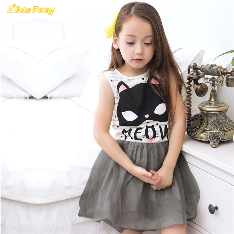 100pcs/lot DHL girls dress cat printing striped dress kid girls Vest dress sleeveless fashion princess dress for baby girl ems dhl free shipping toddler little girl s 2017 princess ruffles layers sleeveless lace dress summer style suspender