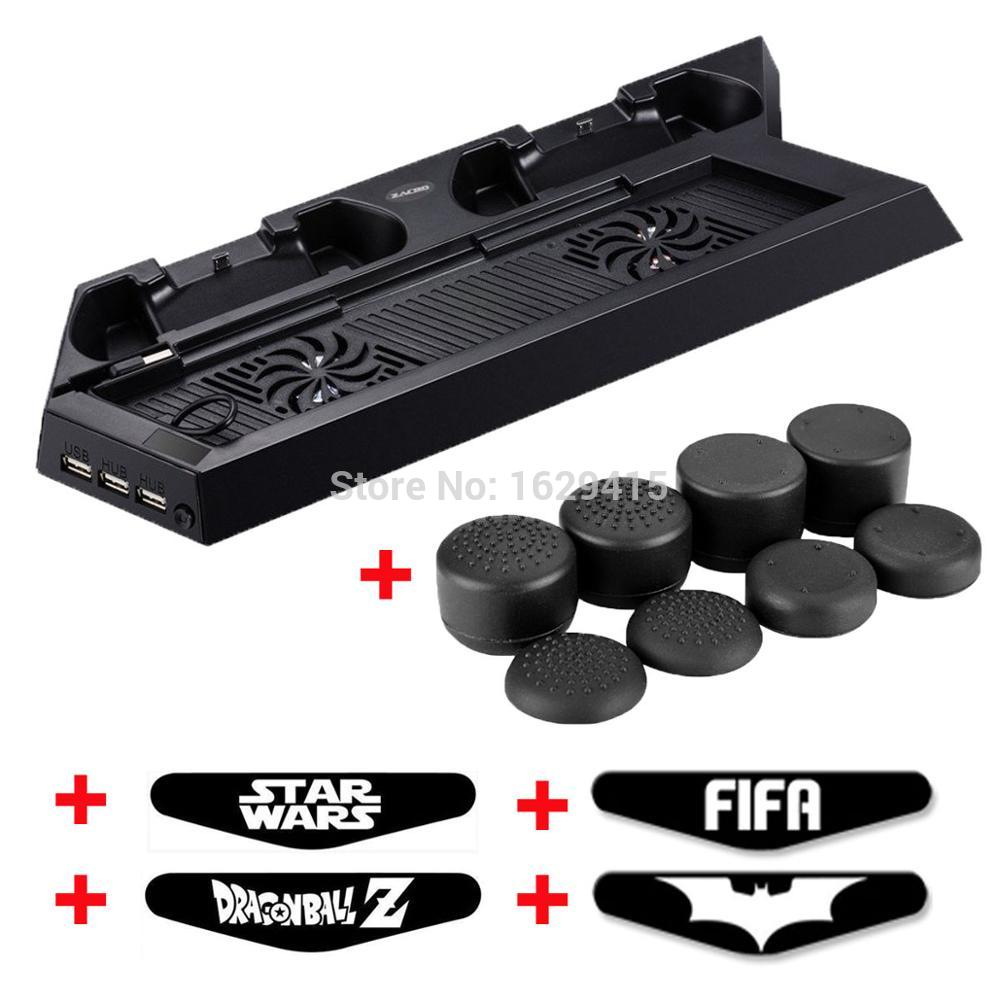 for Sony Play Station 4 PS4 Console Stand Cooling Fan & Dual Charging Station + 8 x Stick Grips + 4 x LED Stickers