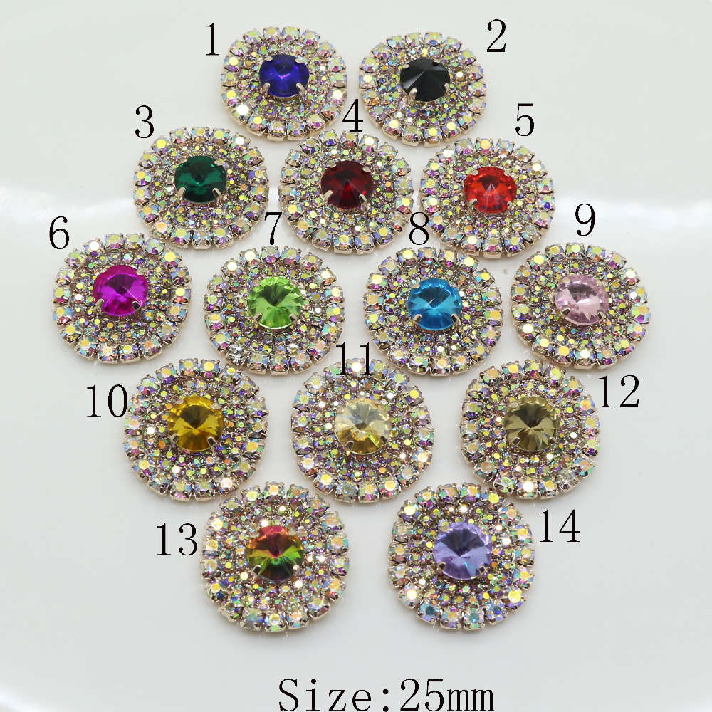 Novelty 2017 release AB color rhinestone buttons metal wedding invitations decorate hair flower center Scrapbooking DIY Accessor