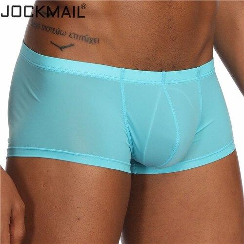 369fac432af6 JOCKMAIL nuevo Sexy para Hombre Ropa interior transparente bóxer pantalones  cortos hombres troncos hielo seda masculina bragas calzoncillos cuecas ...