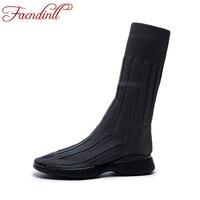 FACNDINLL outono sapatos esticar malha ankle boots para as mulheres super-estrela sapatos de plataforma saltos grossos moda personalidade meia bundinha