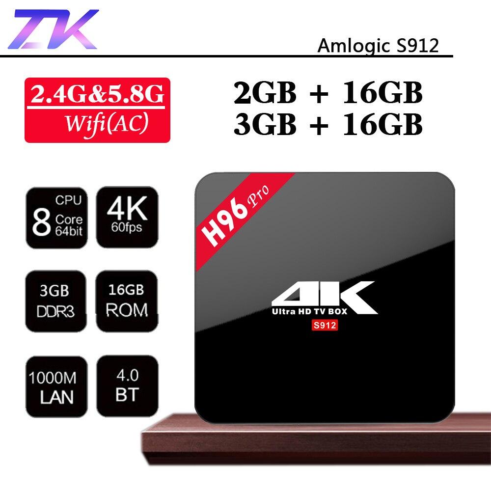 H96 Pro Smart Android 7.1 TV Box 3GB DDR3 16GB Amlogic S912 Octa Core 4K HD Media Player 2.4G/5GHz Wifi BT4.1 Smart Set Top Box h96 pro plus smart tv box android 7 1 amlogic s912 octa core 3gb 32gb 4k hd media player 2 4g 5g wifi bt4 1 mini pc set top box