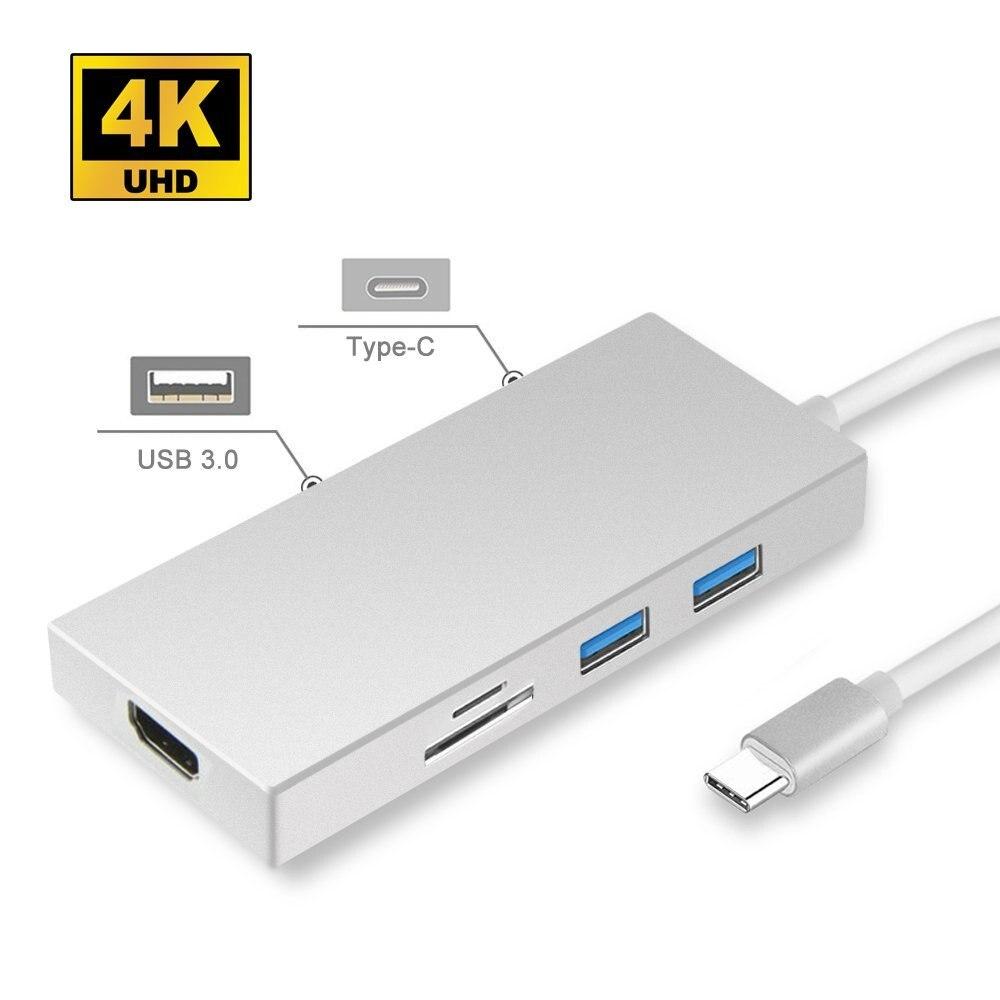 Moyeu de USB C, adaptateur Leadzoe 5 en 1 Type C avec 3 ports USB 3.0 Hub et 1 Port HDMI vidéo 4 K et lecteur de carte SD/TF et 1 séparateur de port de charge