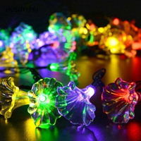 HUSUYUHU 20 LED Lamp Solar Fairy Holiday Led String Lights Outdoor Morning Glory Lawn Flower Patio Christmas Trees Decoration