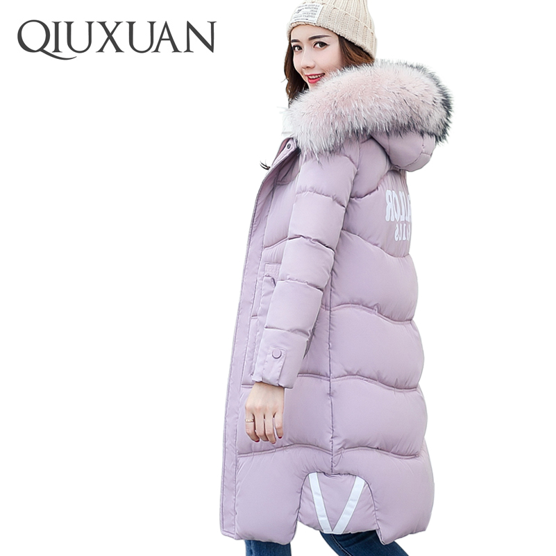 QIUXUAN Winter Warm Cotton Coat 2017 Fashion Hooded Faux Fur Collar Slim Cotton Padded Jacket Women Long Parkas Female Coat lg g3 s