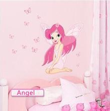 Beautiful Fairy Princess Butterly Angel Decals Art Mural Wall Sticker Kids Girl Room Decor Pink Color free shipping