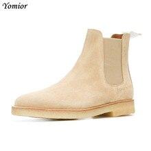 Botas de cuero de vaca de marca de lujo hechas a mano para hombre, botas de moda con punta puntiaguda para boda, Chelsea, botas Vintage para motocicleta