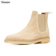 Yomior Mens Chelsea Boots 100% Genuine Leather Handmade Luxury Brand Party Wedding Dress Shoes Winter Casual Big Size