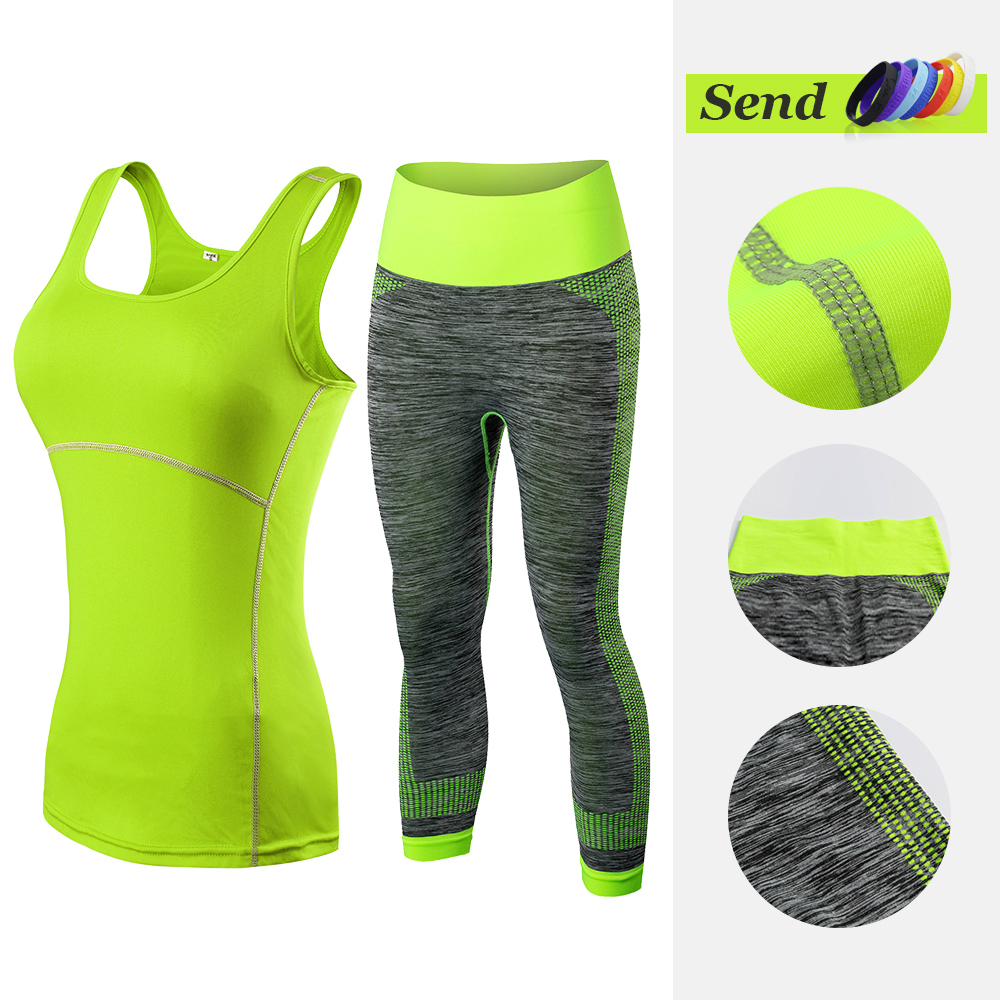 YD New Arrival Women Athletic Gym Yoga Clothes Running Fitness Stripe Sleeveless Sport Vest + Pants Sets 20015081 Лосины