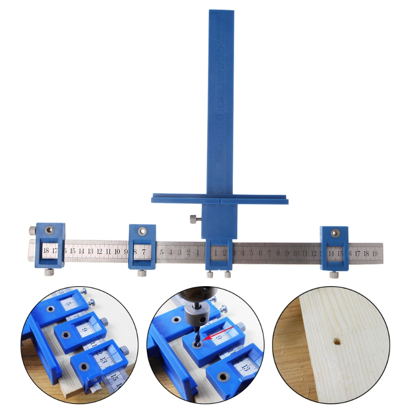 Punch Locator Drill Guide Woodworking Drilling Dowelling Hole Saw Adjustable New LS'D Tool