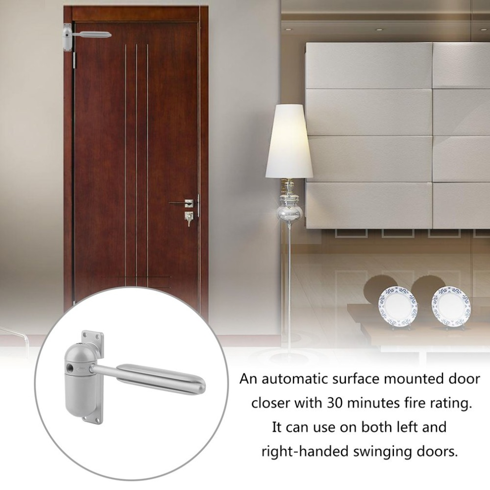 Surface Mounted Automatic Door Closer Fire Rated Spring Loaded Adjustable Auto Closing Security System for Hardware Grey New 20 45kg light door adjustable surface mounted auto closing door closer fire rated door hardware fully adjustable