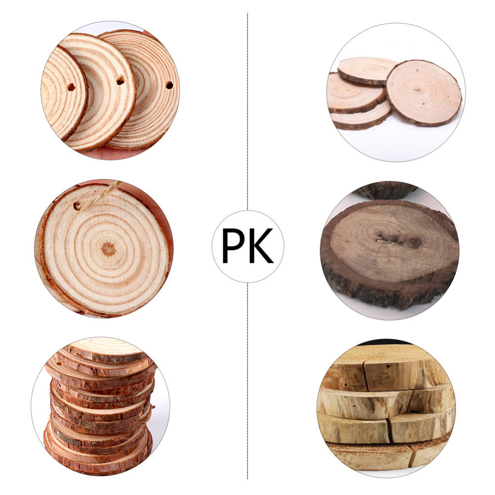 100pcs Natural Wooden Slices DIY Art Craft for Christmas Tree ...
